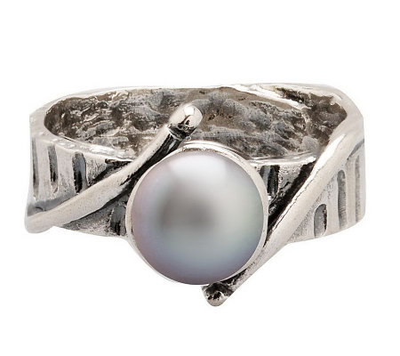 Or Paz Sterling 7.0mm Black Cultured FreshwaterPearl Ring