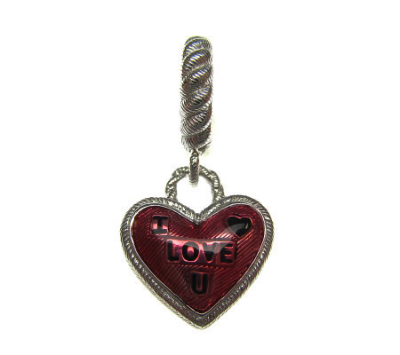 "Judith Ripka Sterling Red Enamel ""I Love U"" Heart Charm"