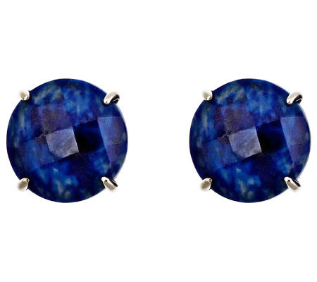 Sterling Checkerboard Faceted Gemstone Stud Earrings