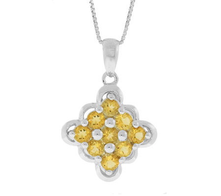 "Sterling Citrine Scalloped-Edge Pendant with 18"" Chain"