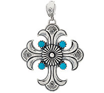 Sterling Silver Turquoise Maltese Cross Enhancer by American West - J320457