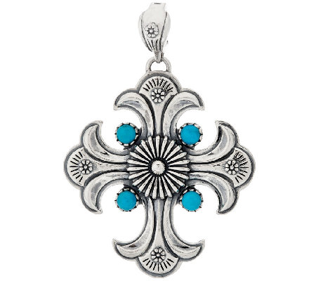 Sterling Silver Turquoise Maltese Cross Enhancer by American West