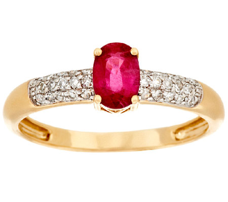 """As Is"" 0.30 ct Thai Ruby & 1/10 cttw Diamond Ring, 14K Gold"