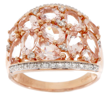 """As Is"" 3.00 ct tw Morganite & 1/7cttw Diamond Domed Ring, 14K Gold"