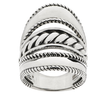 Carolyn Pollack Sterling Silver Three-Row Elongated Ring - J322857
