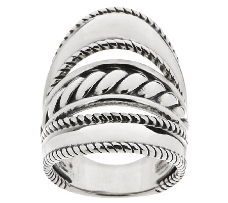 Carolyn Pollack Sterling Silver Three-Row Elongated Ring