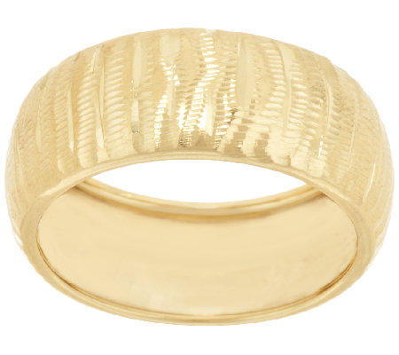 """As Is"" 14K Gold Textured and Diamond Cut Band Ring"