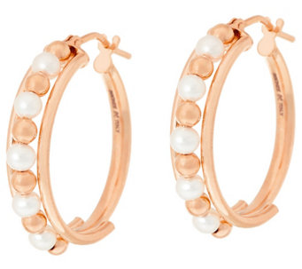 "Honora Cultured Pearl 3.0mm Round 1"" Bronze Hoop Earrings - J323857"