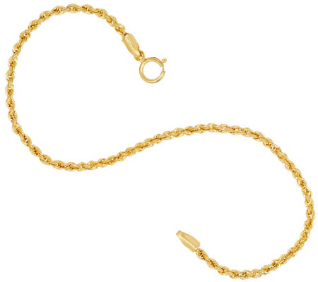 "Vicenza Gold 7-1/4"" Rope Chain Bracelet, 14K"