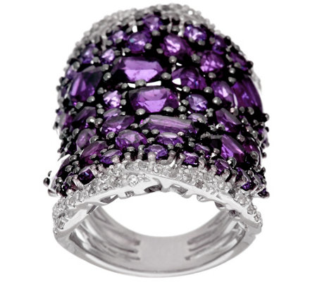 Bold Multi-Cut Gemstone & White Zircon Sterling Silver Ring, 8.00 cttw