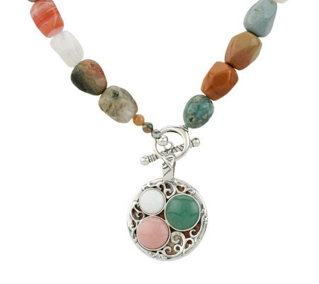 """As Is"" Carolyn Pollack Rio Blanco 18"" Jasper Bead & Sterl. Necklace"
