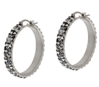 """As Is"" VicenzaSilver Sterling 1"" Crystal Round Hoop Earrings - J325757"