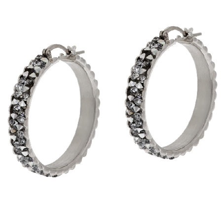 """As Is"" VicenzaSilver Sterling 1"" Crystal Round Hoop Earrings"