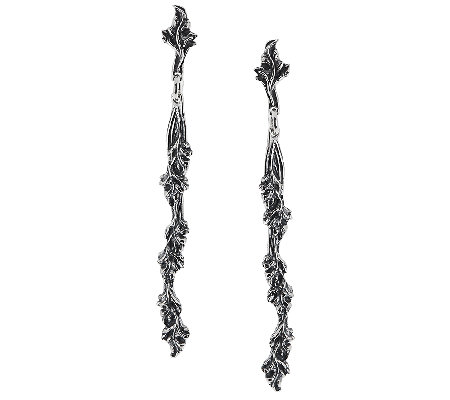 Sterling Silver Vine Design Stick Earrings by Or Paz