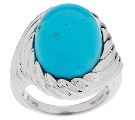 """As Is"" Bold Turquoise Scroll Design Sterling Ring"