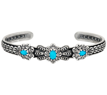 Sleeping Beauty Turquoise Sterling 3-Stone Cuff by American West - J326057