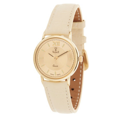 """As Is"" Vicence Roman Numeral Round Case Leather Strap Watch, 14K"