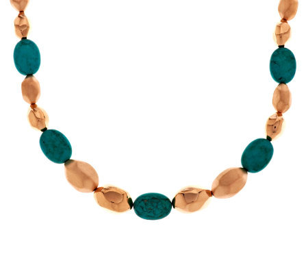 """As Is"" Bronzo Italia 7-1/4"" Satin& Polished Turquoise Nugget Bracelet"