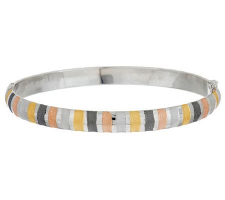 """As Is"" Vicenza Silver Avg. Multi-color Oval Hinged Bangle"