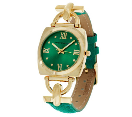 """As Is"" Isaac Mizrahi Live! Horse-Bit Suede Strap Watch"