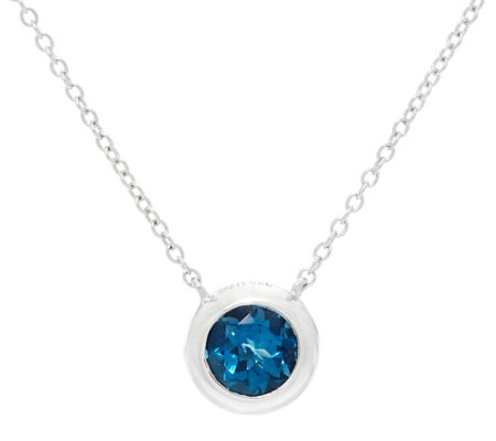 "Jane Taylor Sterling Silver Round Gemstone 18"" Necklace 1.45 ct"