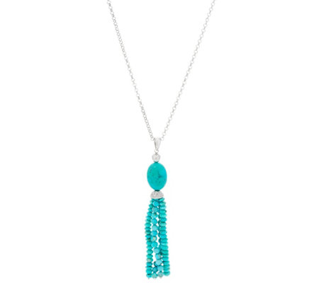 "Turquoise Bead Sterling Silver 24"" Tassel Necklace"