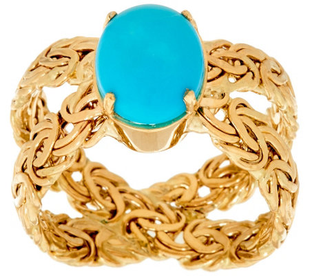 """As Is"" 14KGold Turquoise Byzantine X-Ring"