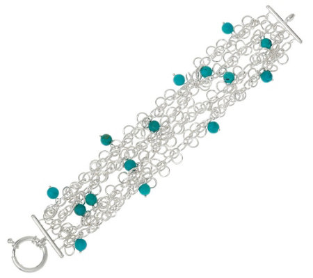 """As Is"" Turquoise Bead Sterling Silver 6-3/4"" Charm Bracelet"