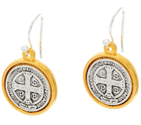 My Saint My Hero Benedictine Blessing 2 Tone Drop Earrings