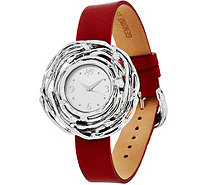 Hagit Sterling Silver Leather Wrist or Pendant Nest Watch - J333957