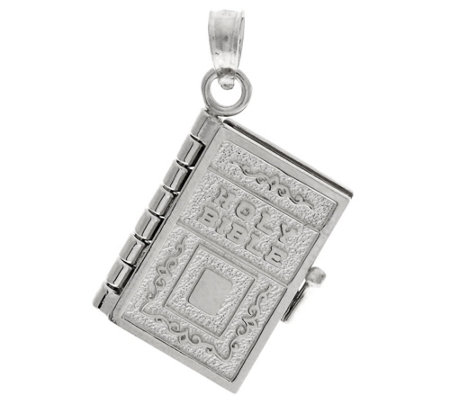 14K Gold White Movable Bible Pendant