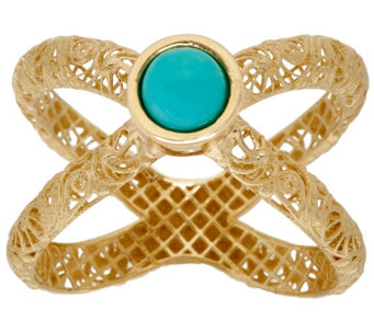 """As Is"" Adi Paz Turquoise Openwork Swirl Design X-Ring, 14K - J334157"
