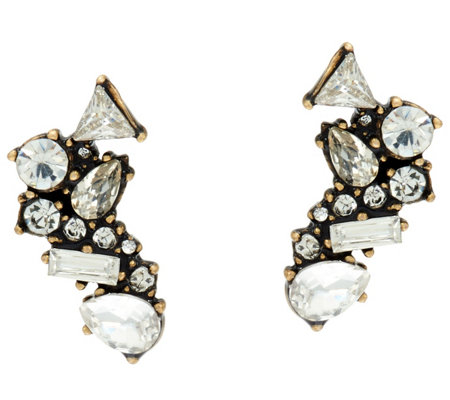 BaubleBar Crystal Cluster Ear Climber Earrings