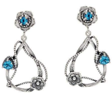 Or Paz Sterling Silver Gemstone & Flowers Dangle Earrings