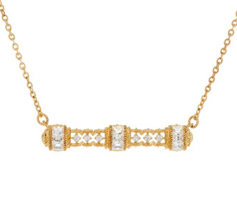 Judith Ripka 14K Clad Diamonique Bar Necklace - J335857