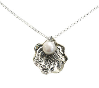 Or Paz Sterling Openwork Cultured Pearl Pendantwith Chain - J336357