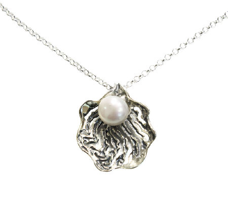 Or Paz Sterling Openwork Cultured Pearl Pendantwith Chain