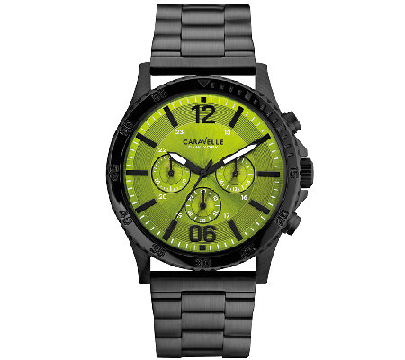 Caravelle New York Men's Black Stainless GreenFaced Watch