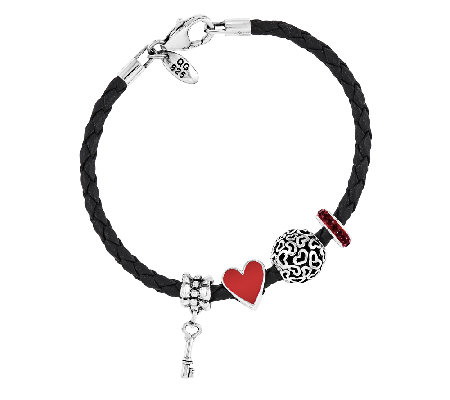Prerogatives Sterling Key to My Heart  Bead Bracelet Set