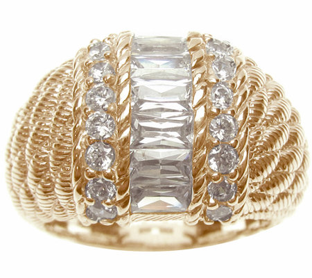 Judith Ripka Sterling/14K-Clad Channel-Set Baguette Dome Ring