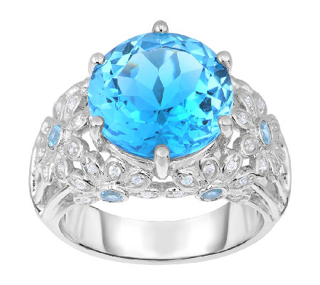 9.00 cttw Swiss Blue Topaz Floral Accent Ring,Sterling