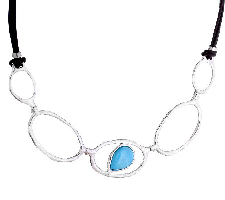 Hagit Sterling & Leather Necklace w/ TurquoiseAccent