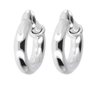 "UltraFine Silver 3/4"" Polished Clip-On Hoop Earrings - J339957"