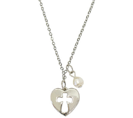 "Catherine Galasso Heart Cross Pendant w/ 18"" Chain"