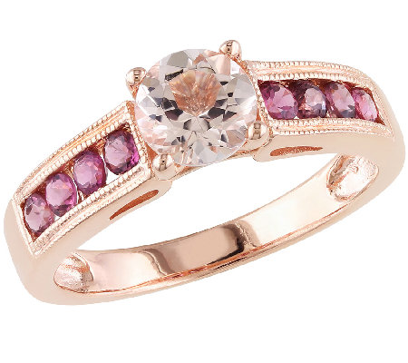 1.15cttw Pink Gemstone Ring, Sterling Silver &14K Rose Plated