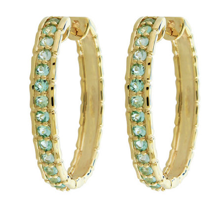 0.75 cttw Paraiba Tourmaline Hoop Earrings 14KGold