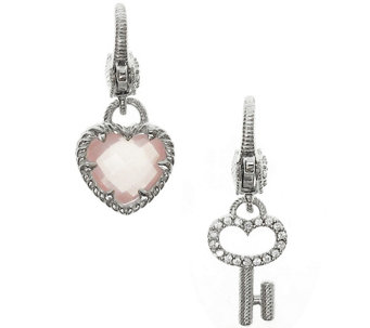 Judith Ripka Sterling Gemstone Heart and Key Charm Set - J341857