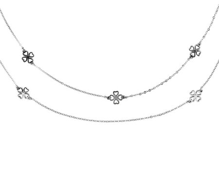 "Steel by Design Two-Strand Clover 28"" Necklace"