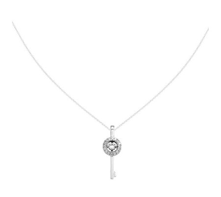 "1/3 cttw Diamond Key Pendant w/18"" Chain, 14K"