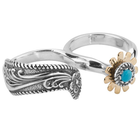 American West Sterling & Brass Floral Double Finger Ring